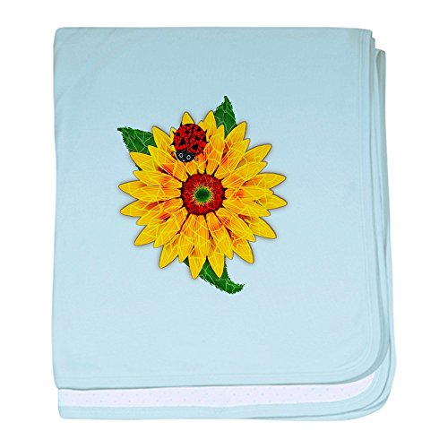 CafePress Mosaik Sonnenblume mit Lady Bug Baby Decke, baumwolle, himmelblau, Standard (Lady Mosaik)