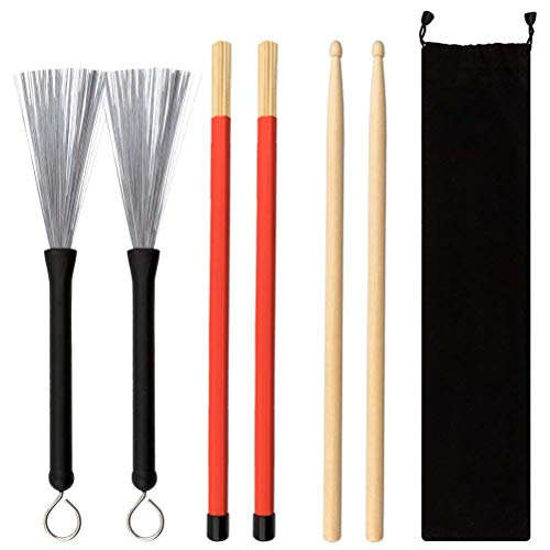 cks, Drum Wire Brushes Retractable Drum Stick Drum Brushes Set for Rock Band Jazz Folk Students ()