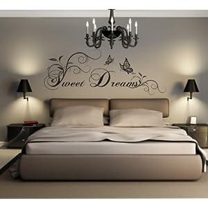 greenluup ® ökologisches Wandtattoo in Schwarz Spruch Sweet Dreams Schlafzimmer Kinderzimmer