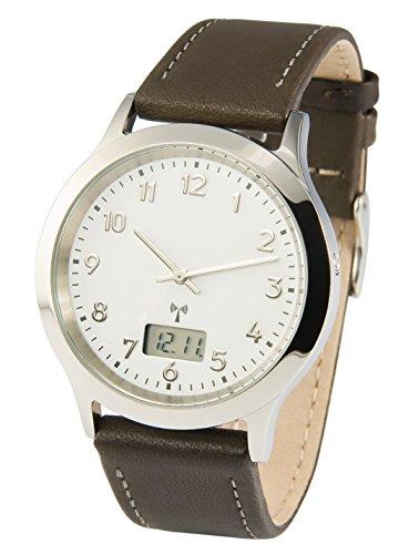 Reloj para hombre Marqués, tecnología de radiofrecuencia alemana, correa de piel marrón, caja de acero inoxidable 983.6213