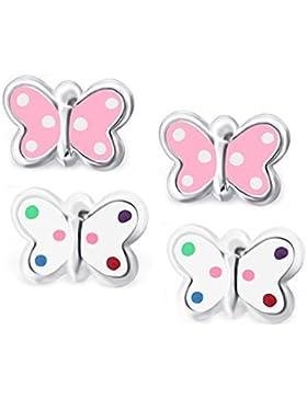 SL-Silver 2 Stück Set Kinder Ohrringe kleiner Schmetterling Bunt 925 Silber in Geschenkbox