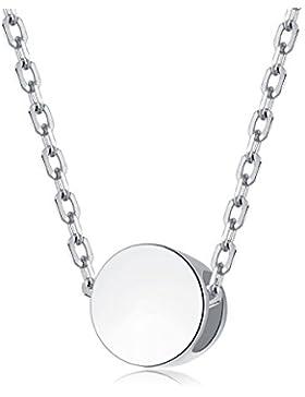 EVERU Damen Kette mit Sehr Kleine Runder Kugel Anhänger, Zarte Halskette 925 Sterling Silber