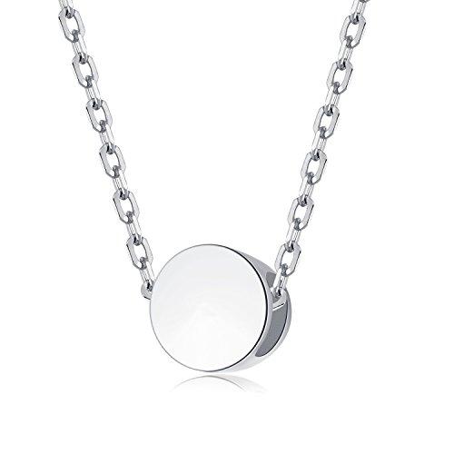 EVERU Damen Kette Choker mit Sehr Kleine Runder Anhänger, Minimalistischer Schmuck Halskette, 925 Sterling Silber, nickelfrei (Silber)