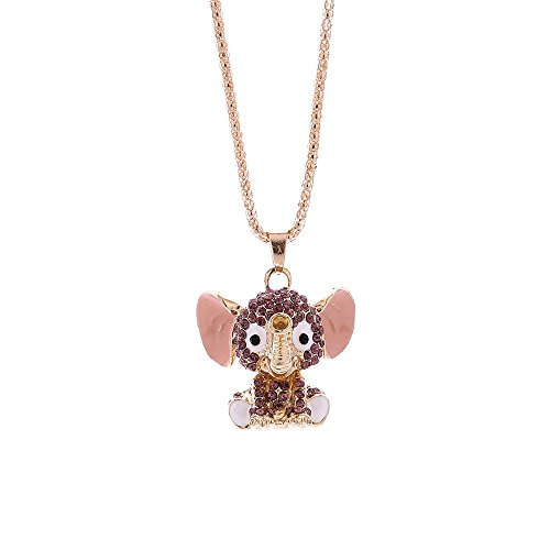 Mypace Anhänger Gold Silber 925 Für Damen Fashion Women Charm Elephant Crystal Rhinestone Pendant Sweater Halskette