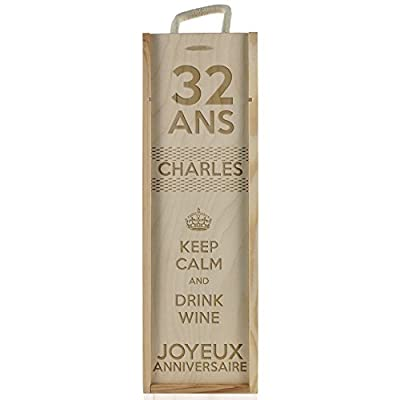 "Personnalised Wine Box Anniversary - ""Keep Calm"" by Amikado"