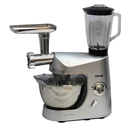 DMS® Küchenmaschine Multifunktional mit Standmixer | Smoothie maker | Küchenhelfer mit Fleischwolf | Rührmaschine | 1800 W max. silber