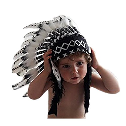 K04 Para 2-5 añoss : Sombrero Indio de niños , penacho blanco y negro para los más pequeños 20.5...