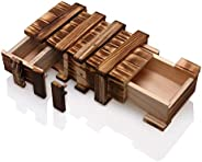 Wooden Secret Trick Puzzle Drawer Brain Teaser Magic Box