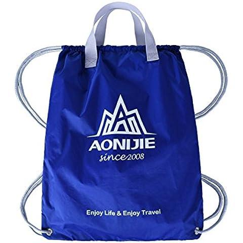 MaMaison007 Al aire libre plegable deportes mochila con cordón Nylon impermeable formación bolsa baloncesto bolsa
