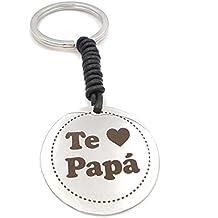 Teresa Barrio Llavero regalo papá de acero y cuero negro con emotiva frase TE quiero papá