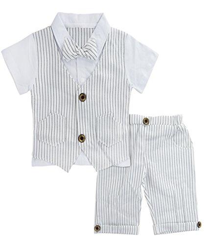 A&J Design Baby Junge Anzug 2 TLG Gentleman Streifen Kleidung kurzen Ärmeln mit Bowtie (Weiß, 12-18 Monate/80)