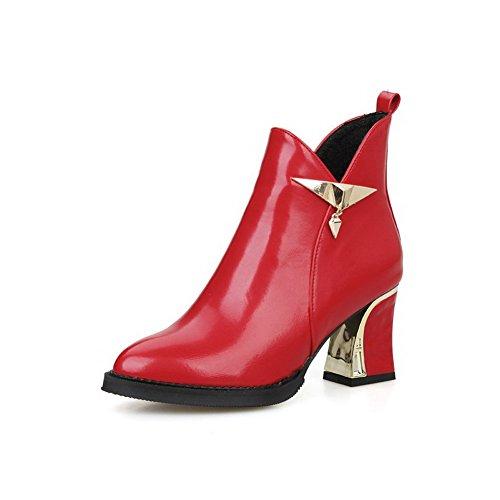 VogueZone009 Damen Spitz Zehe Mittler Absatz Niedrig-Spitze Rein Stiefel Rot