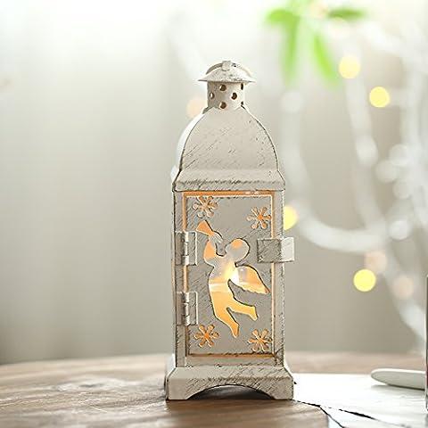 Lanterne romantici europei/Ornamenti decorativi in ferro/Supporto di candela di natale alce angelo---A-B