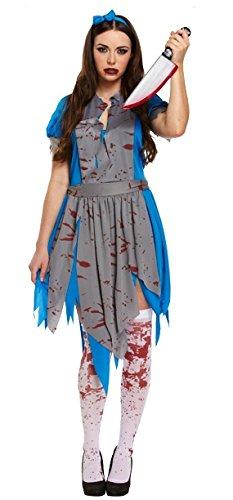 Horror Halloween Zombie Alice im Wonderlamd Kostüm Outfit (Blutige Halloween Kostüme Uk)