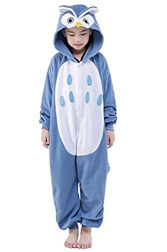 Kenmont Jumpsuit Tier Cartoon Einhorn Pyjama Overall Kostüm Sleepsuit Halloween Cosplay Animal Sleepwear für Kinder Baby (Größe115: Höhe 115-130, Owls)