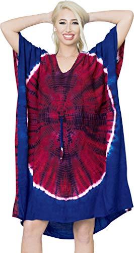 LA LEELA Frauen verschleiern Kleidrock Strand Bikini Tie-Dye Bademoden Badeanzug Casual regelmäßige Partei DE Größe: 42 (L) - 52 (4XL) Rosa_X986 - Tie-dye-tunika