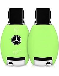 Housse pour Mercedes Benz 2-Bouton clef de voiture - Housse de protection lumineuse en silicone pour clefs kwmobile en couleur vert clair - Pochette étui Housse clefs de voiture véhicule