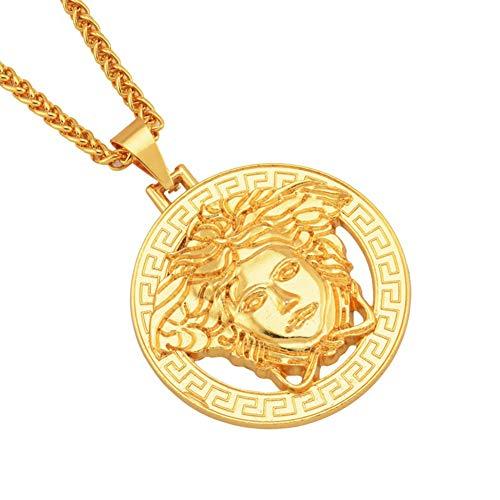 ORKST Medusa Groß 7,2 cm * 6,5 cm Anhänger 18K Gold Legierung Halskette Männer und Frauen Schmuck Zubehör Kettenlänge 75cm