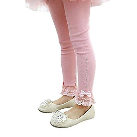 Tonsee 2016 Spring Flower Girl Hose Baby Mädchen Leggins Kinder Baumwolle Mode Legging Kinder Herbst Hose Mädchen Leggins (130, Rosa)