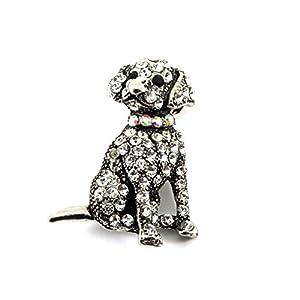 Kristall Hund Brosche, Anhänger Hund–Süßer Hund Brosche, Labrador Brosche oder Anhänger, kristallbesetzt,, 3,5cm x 2cm–inkl. Geschenkbox
