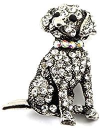 Brooches for Women Crystal Dog Brooch or Pendant Crystal Encrusted Labrador Dog Brooch 3.5cm x 2cm Includes Gift Bag