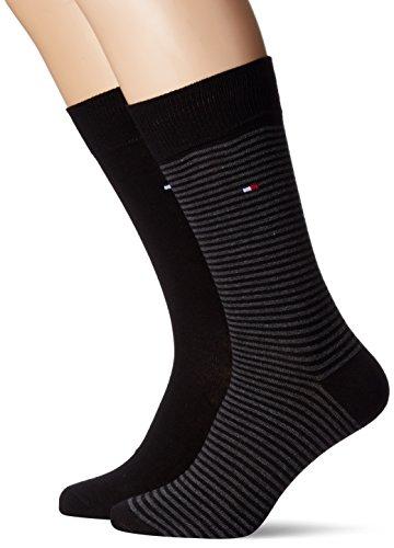 Tommy Hilfiger Herren TH Men Small Stripe Sock 2P, 2er Pack, Schwarz (Black 200), 47/50 (Herstellergröße: 47-49) (200 Golf)