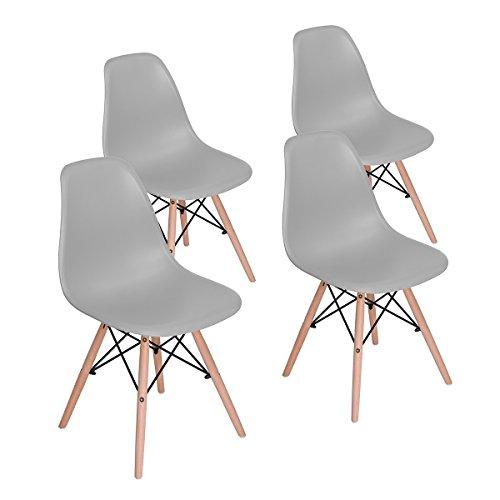 MeillAcc Satz von 4 vormontierten modernen Stil Esszimmerstuhl Mitte des Jahrhunderts weiß Moderne DSW Stuhl, Shell Lounge Kunststoff Stuhl für Küche, Esszimmer, Wohnzimmer Seitenstühle (Grau)