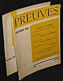 Preuves. n°118. Décembre 1960 et son supplément