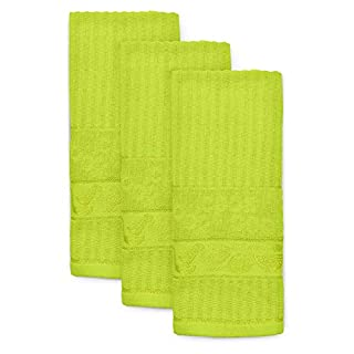 Ashley Mills Woven Tea Towels Pack of 3 Large 40 x 70cms Super Absorbent Hearts 100% Cotton (Lime)