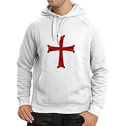 lepni.me Sudadera con Capucha Orden de Caballero Cristiano - la Cruz de los Caballeros templarios (X-Large Blanco