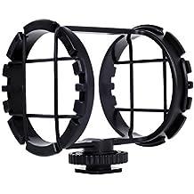 Movo SMM2 Soporte de Zapata Amortiguado de Cámara para Micrófonos Cañón 19-25mm de Diámetro (Incluyendo Rode NTG-1, NTG-2, Sennheiser MKE-600)