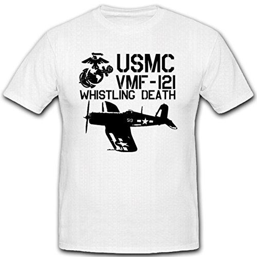 USMC VMF-121 Whistling Death United States Marine Corps - T Shirt #1657, Größe:Herren XXL, Farbe:Weiß (United States Marine Corps Shirts)