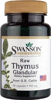 Swanson Raw Thymus Glandular from US Cattle (500mg, 60 Capsules)