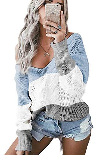 Leslady Pullover Damen Strickpullover V-Ausschnitt Schulterfrei Casuel Sweatshirt Elegant Oberteile Top, Blau, S