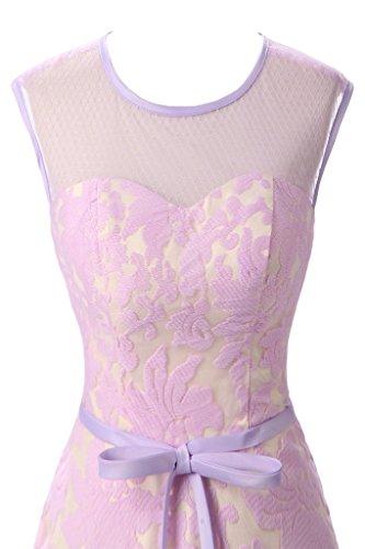 Ivydressing Damen Liebling Rundkragen Spitze Promkleid Lang Ballkleid Abendkleid Lila