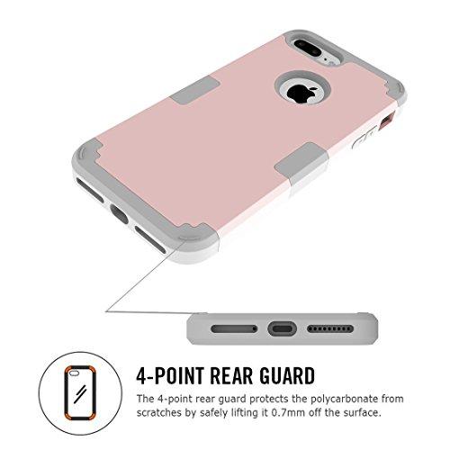 iPhone Case Cover Pour iPhone 7 Plus Séparable couleur de contraste PC + Silicone Combination Case ( Color : Purple ) Rose Gold