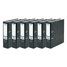 Elba - Raccoglitore a leva, formato A4, confezione da 6, colore: nero