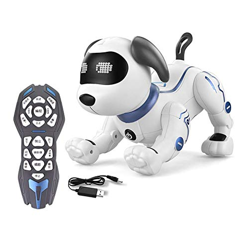 Ferngesteuert Hund Roboter Spielzeug für Kinder, Intelligent RC Hund mit Musik, Programmierbar Niedlich Interaktiv Dog Singen Tanzen für Kinder Jungen Mädchen Geschenk