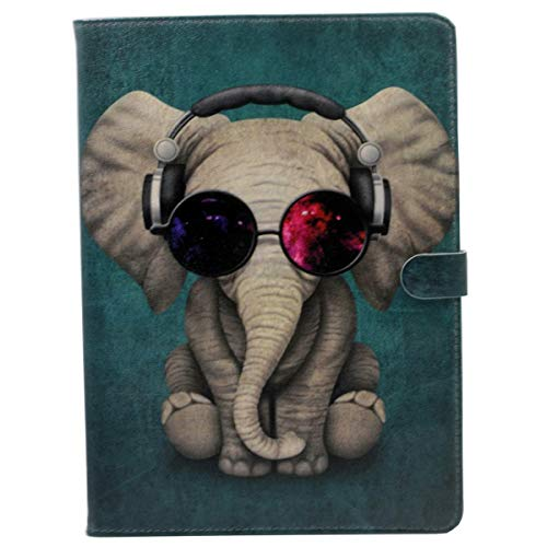 iPad 9.7 2018/2017 Hülle, Funky DJ Elefant mit Kopfhörern Sonnenbrille Muster Leder Flip Case Stand Cover für Apple iPad 9.7 iPad 5./6. Generation
