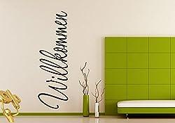 Wandtattoo wandaufkleber Aufkleber Wandsticker wall sticker Wohnzimmer Schlafzimmer Kinderzimmer 30 Farben zur Wahl Wandtext Wandwort Wandspruch spruch Zitat Willkommen wzt20(Printed Sticker,ca.20 x 8cm)