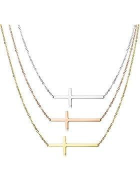 BESTEEL 3PCS Edelstahl Schmuck Anhänger Kreuz Damen Klein Halskette Rosegold Silber und Golden Kette 46CM/56CM