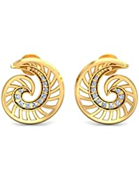 Zeya Yellow Gold Ocean Swirl Earring Stud Earrings for Women