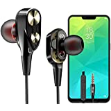 PTron Boom 2 Headphone 4D Deep Bass Stereo Earphone Dual Driver Sport Wired Headset with Mic (Black/Gold)