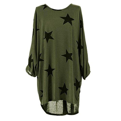 WOCACHI Damen Sommer T-Shirts Frauen Plus Size Batwing Ärmel Sterne Muster Baggy Tunika Tops Loose Bluse (XL, Grün)