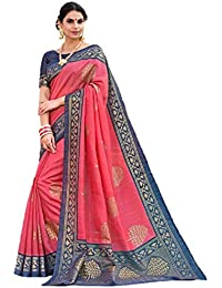 Art Decor Sarees Women's Pink Color Bhagalpuri Silk Printed Saree With Blouse(AD-Deisgn-301_Pink_Free Size)