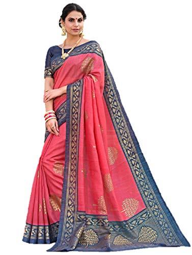 Art Decor Sarees Women\'s Pink Color Bhagalpuri Silk Printed Saree With Blouse
