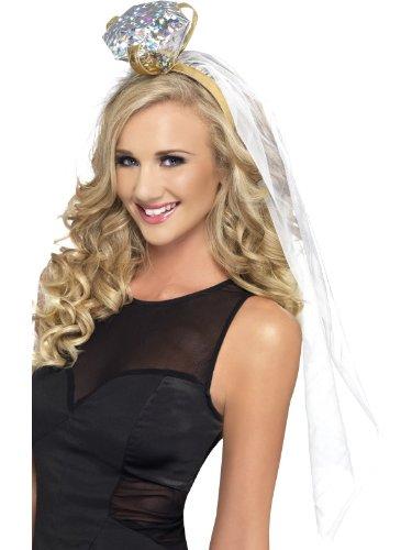 sellinnenabschied Haarreif mit Schleier und Ring, One Size, Weiß, 26788 (Witch King Kostüm)