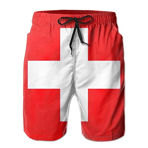 Nicegift Men Board Shorts Swiss Flag Swimming Trunks XX-Large - Full Cut Boxer Shorts