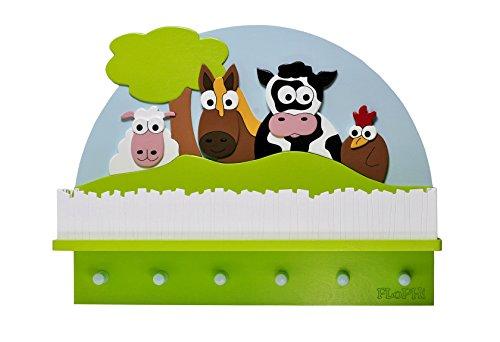 Flophi große Kindergarderobe mit Mützenablage Motiv Bauernhof