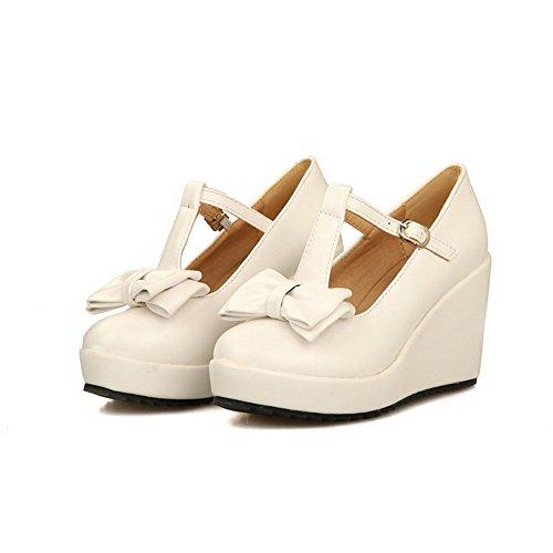 VogueZone009 Femme Pu Cuir à Talon Haut Rond Couleur Unie Boucle Chaussures Légeres Blanc